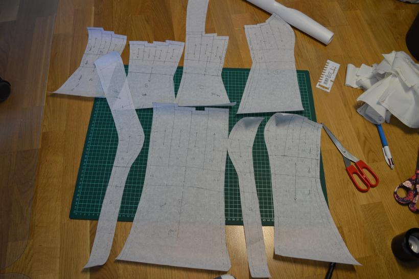 All the large pattern pieces for the dress, transferred onto paper.