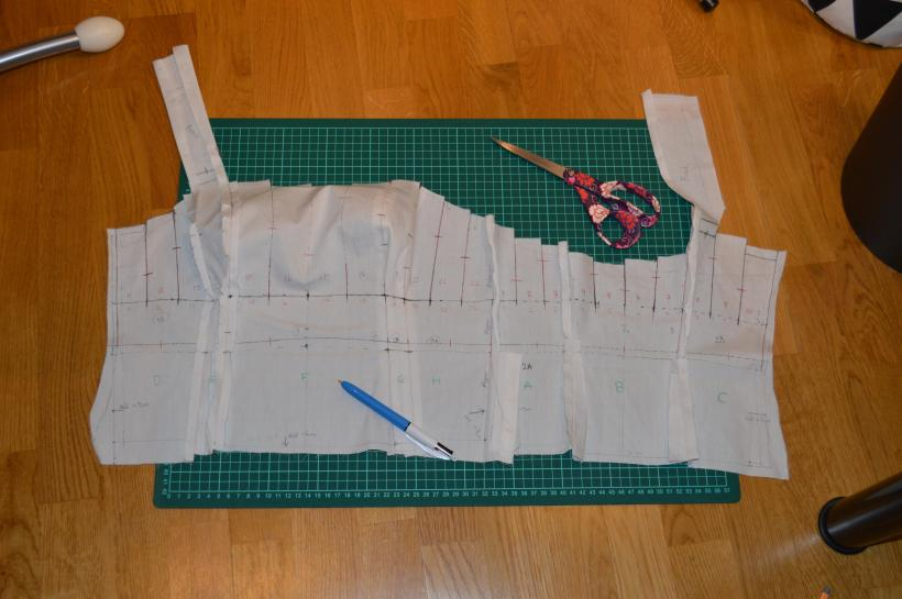 The muslin pattern before cutting and unpicking the seams.