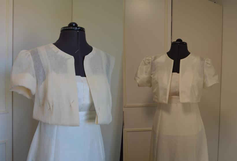 Muslin to the left and silk to the right