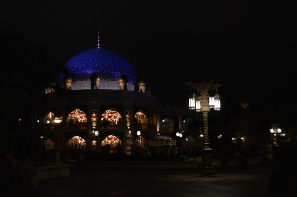 Merry-go-round in camel-smelling Agrabah at night.