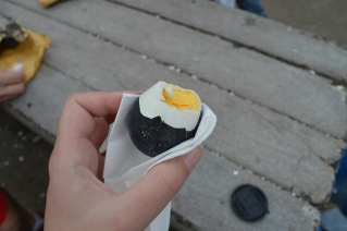Black on the outside but a normal egg on the inside