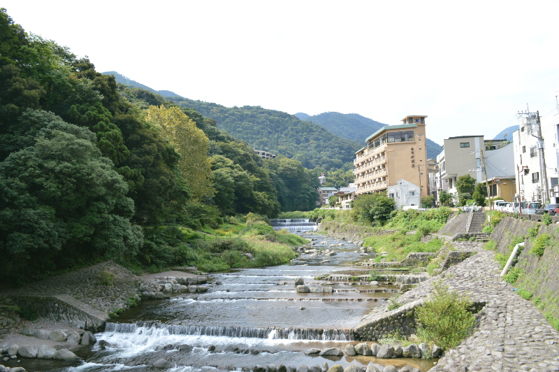 View of the ryokan (the large yellow building)