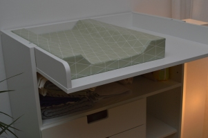The finished changing pad on top of the changing table!